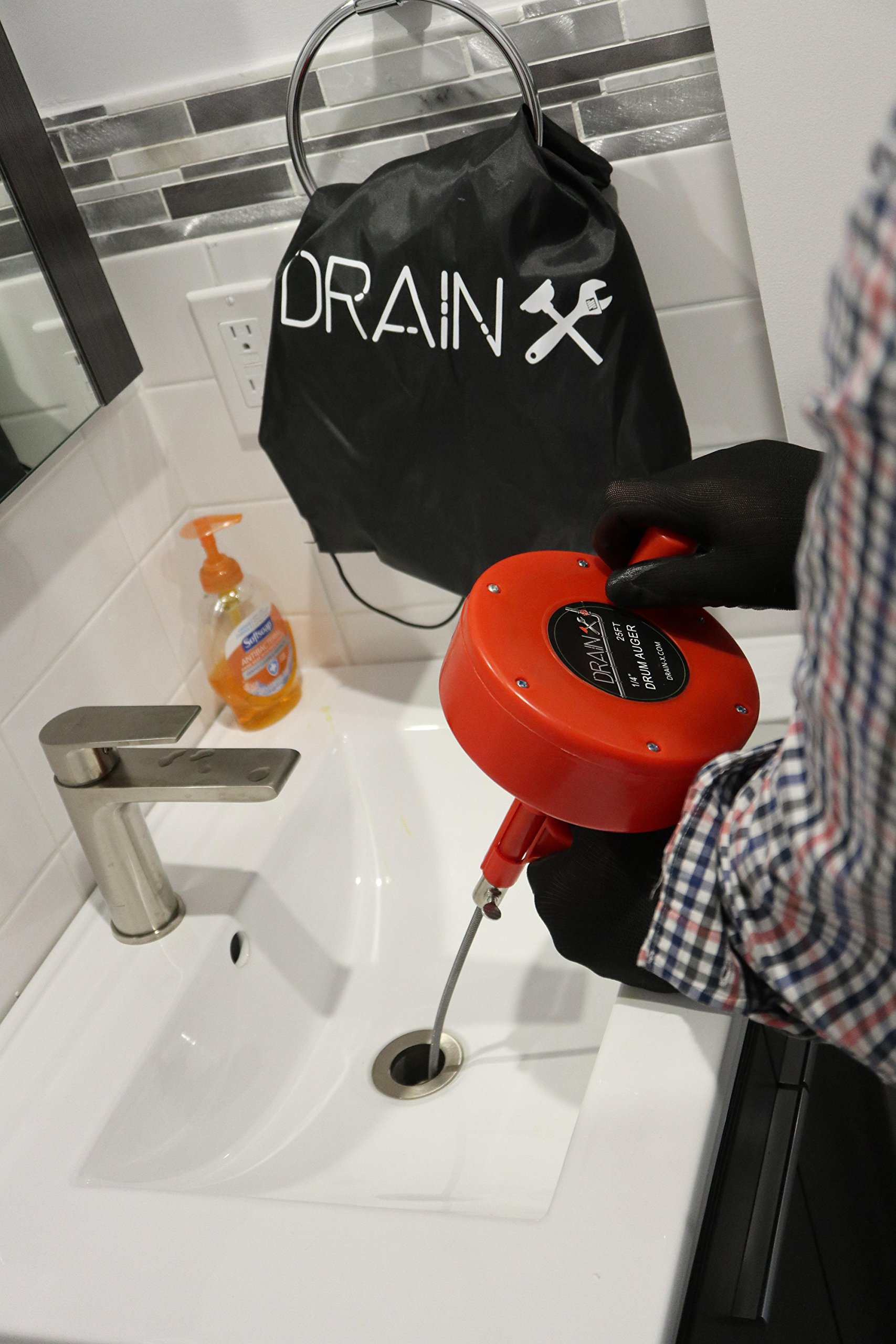 Plumbing Snake Drain Auger | 25-Ft Drain Snake Cable with Work Gloves and Storage Bag by DrainX (Image #9)