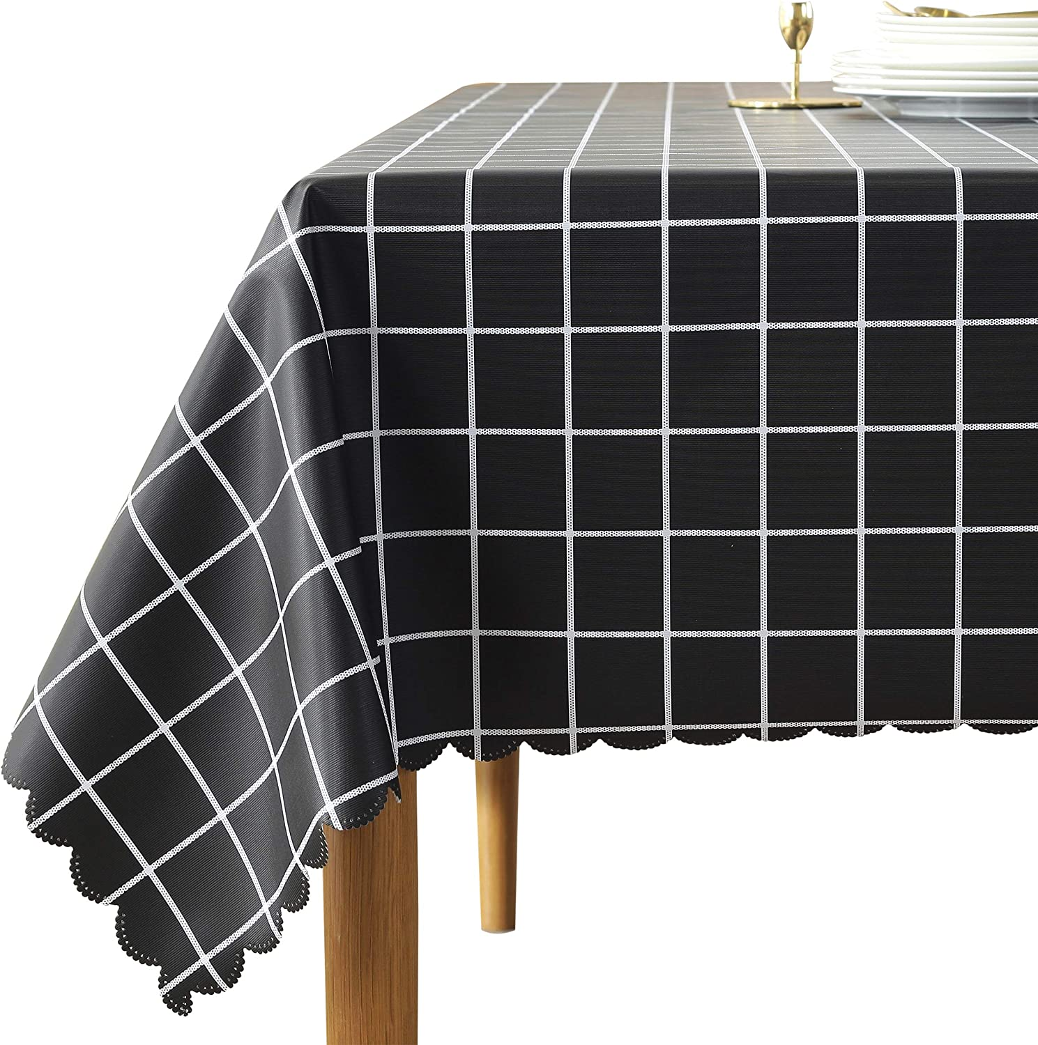 Black Checkered Vinyl Tablecloth Rectangle 54 x 78 Inch Wipeable Heavy Duty Picnic Camping Indoor Outdoor Rectangular Reusable Plastic Plaid Table Cloth Flannel Backed Vinyl Oblong tablecloths