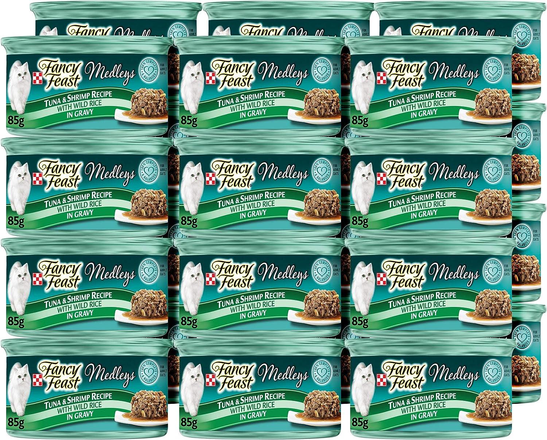 Purina Fancy Feast Gravy Wet Cat Food, Medleys Tuna & Shrimp Recipe With Wild Rice in Gravy - (24) 3 oz. Cans