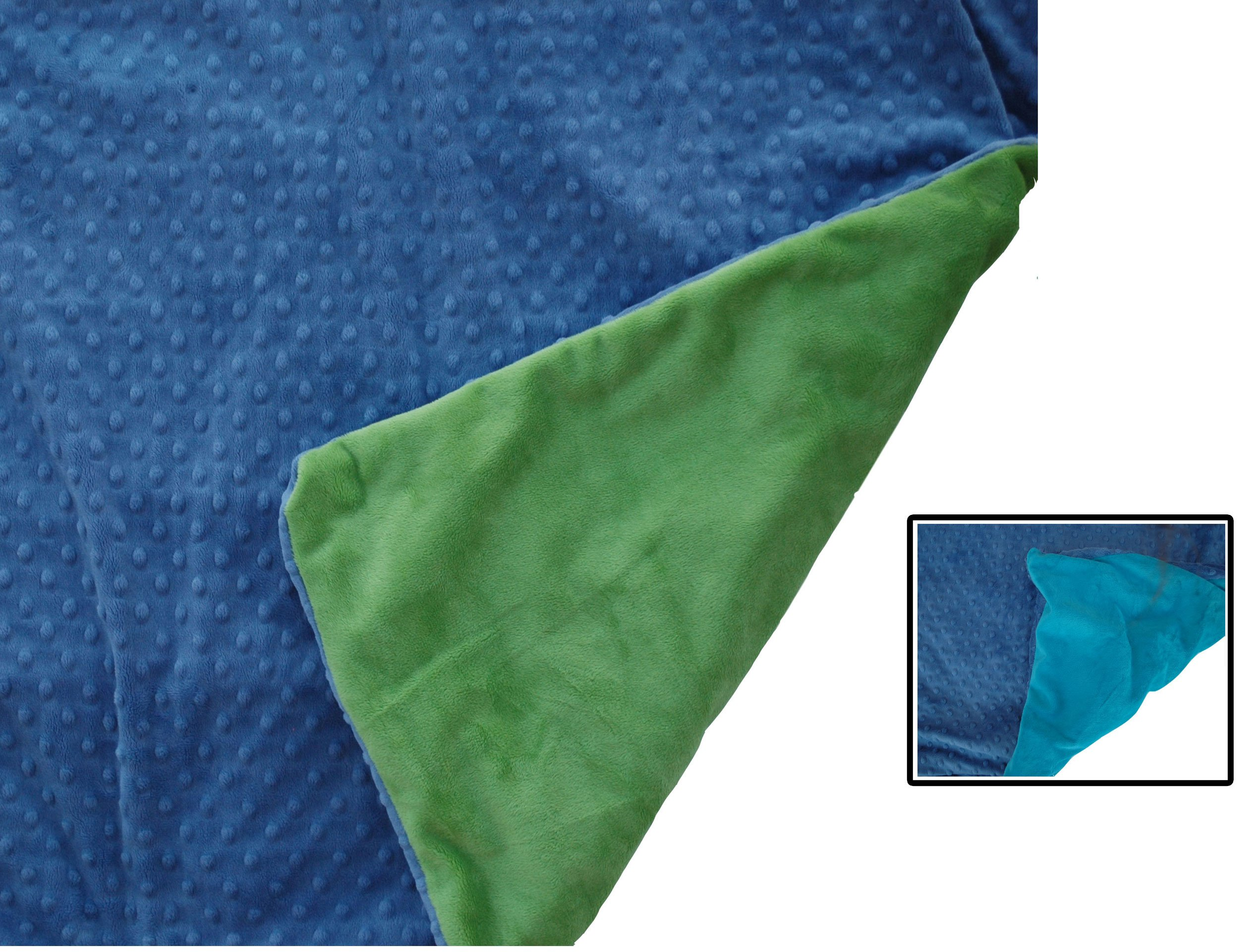 Creature Commforts Weighted Blanket - Medium 6 lbs 40'' x 30'' for kids, adults - Removable cover, soft minky duvet, organic insert - Heavy sensory blanket made in USA - Teal or Jade