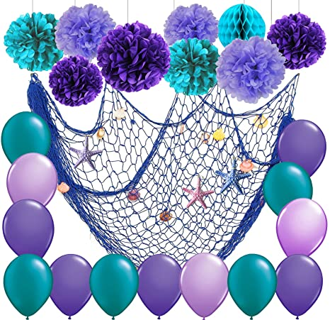 Amazon Com Furuix 27pcs Mermaid Party Decorations Under The Sea