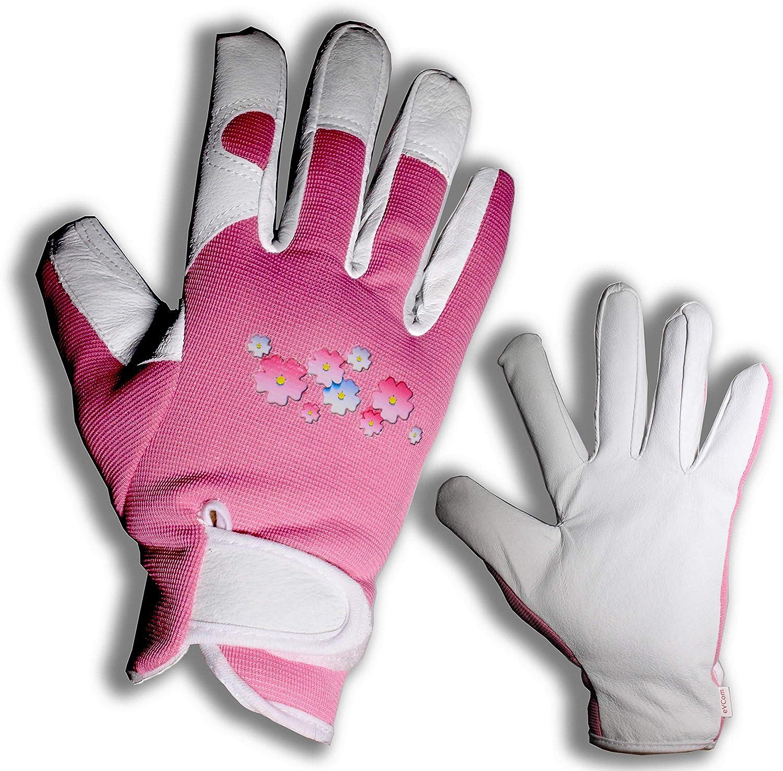Elegante Guantes de jardinería de Cuero para Mujer con protección para Todos los Dedos jardín y la casa, Completamente Seguro para podar Rosas