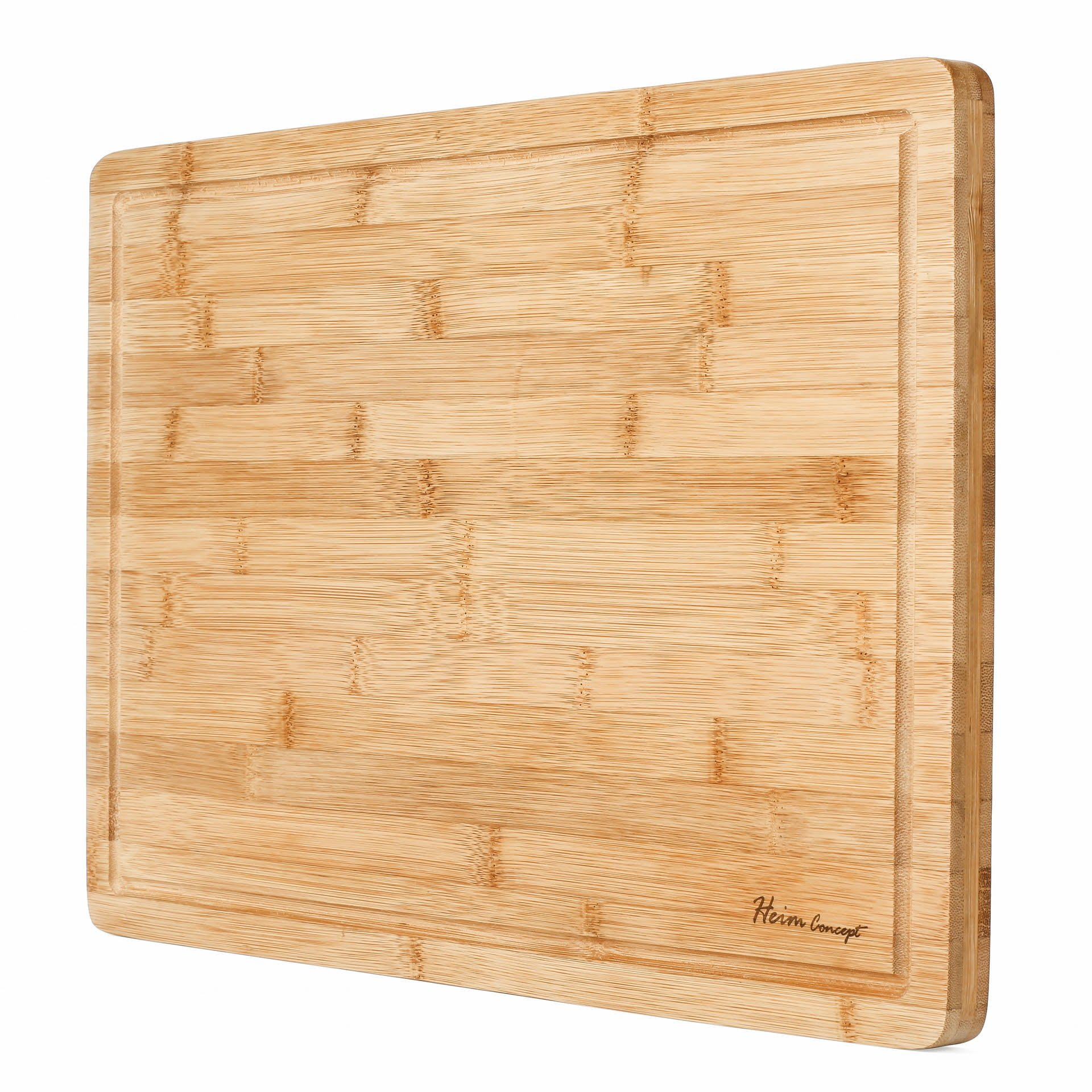Premium Organic Bamboo [ HEIM CONCEPT ] Extra Large Cutting Board and Serving Tray with Drip Groove [ 18'' x 12'' x ¾'' inch Thick ] Eco-Friendly Thick Strong Bamboo Kitchenware