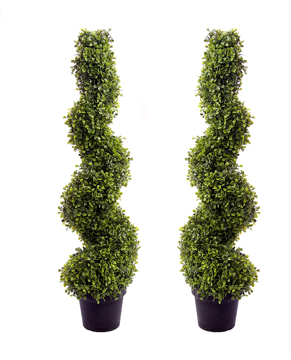 Best Artificial 2 (TM) 3ft 90cm Buxus Boxwood Spiral Topiary Trees **UV Fade Protected**