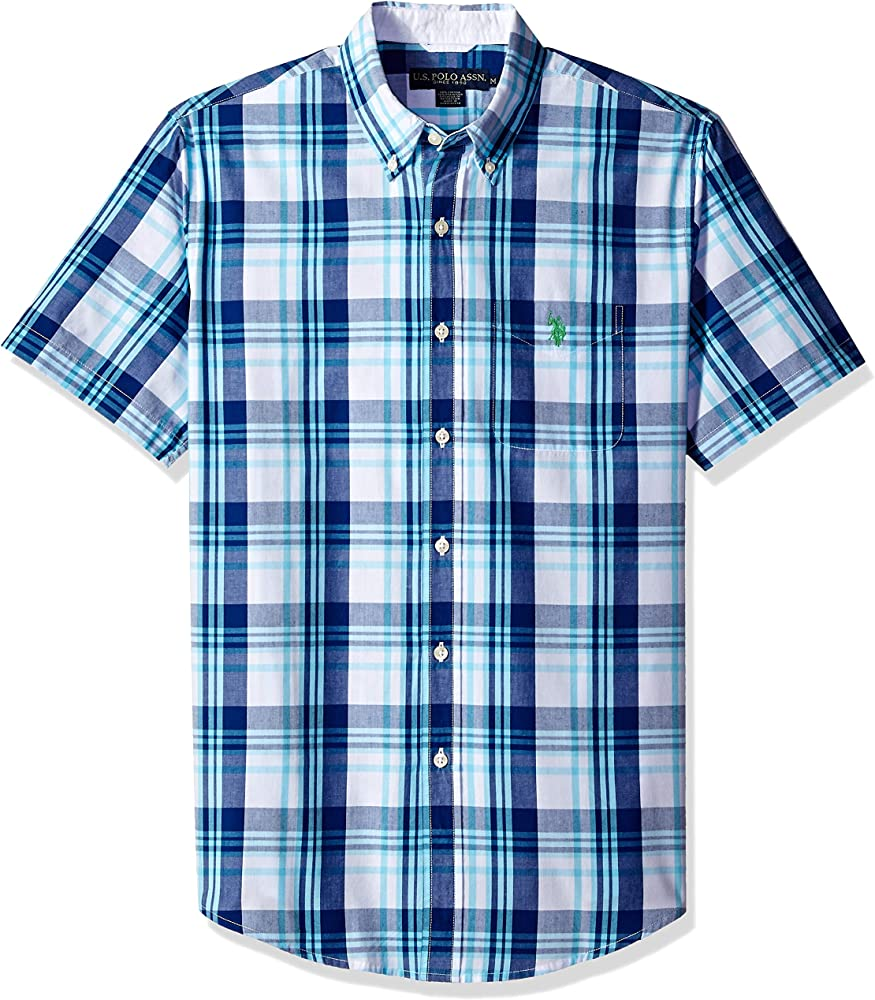 U.S. Polo Assn. Mens Short Sleeve Classic Fit Plaid Shirt: Amazon ...