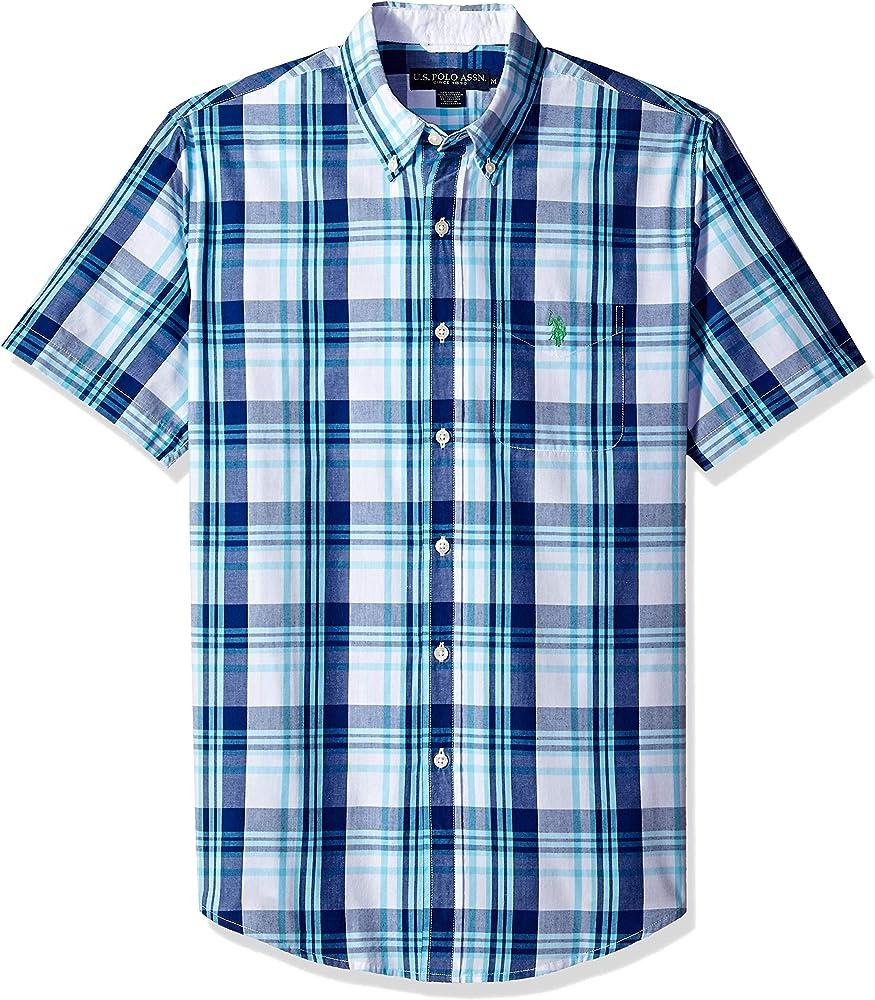 U.S. Polo Assn. Mens Short Sleeve Classic Fit Plaid Shirt: Amazon ...