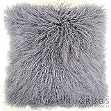 Snugrugs Mongolian Long Curly Wool Sheepskin Cushion / Pillow & Cushion Inner - 40cm x 40cm - Grey