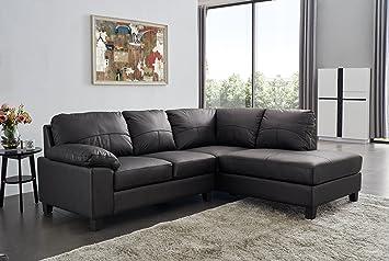 SC Furniture Ltd Black High Grade Genuine Leather Corner Sofa BOSTON (Right  Hand Facing)