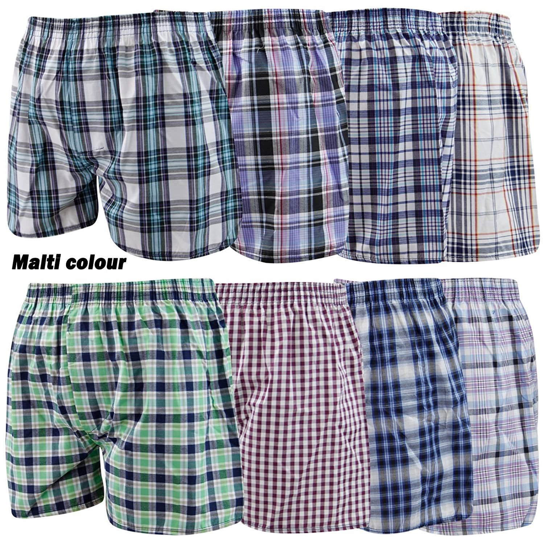 3 6 or 12 Pairs Mens Woven Boxer Shorts Cotton Rich Underwear Briefs S M L 2XL