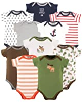 Luvable Friends Baby Boy and Girl 10 Pack Bodysuits