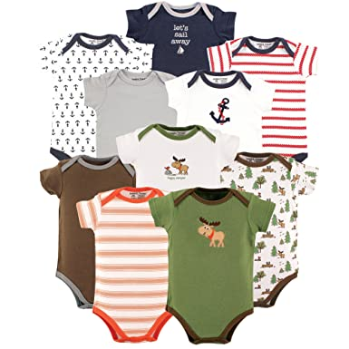 95e5476cc9a Amazon.com  Luvable Friends Baby Boy and Girl 10 Pack Bodysuits ...