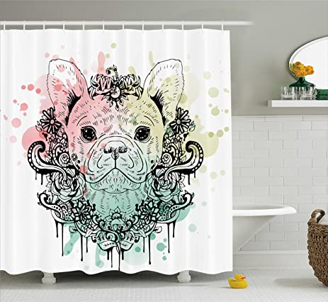 Animal Shower Curtain By Ambesonne French Bulldog With Floral Wreath On Brushstroke Watercolor Print