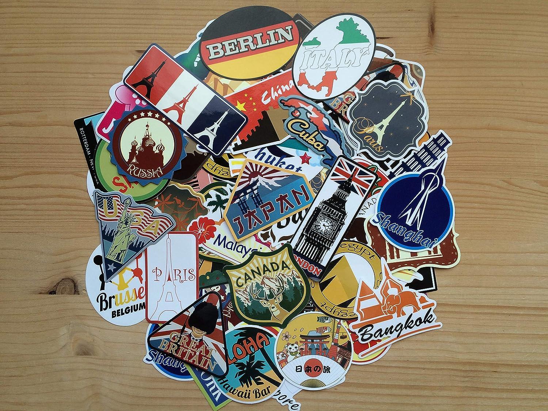 monde bagage Lot de stickers voyage vintage 100 villes pays retro souvenirs travel d/écoration valise autocollants en vinyl r/étro ordinateur graffiti europe album camping car