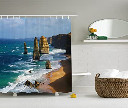 Ambesonne Seaside Decor Collection 84 Inches Extra Long Magical Sunrise Over the Sea in Con Dao Vietnam Colorful Sky Reflection on Sea Horizon View Fabric Bathroom Shower Curtain Orange Turquoise