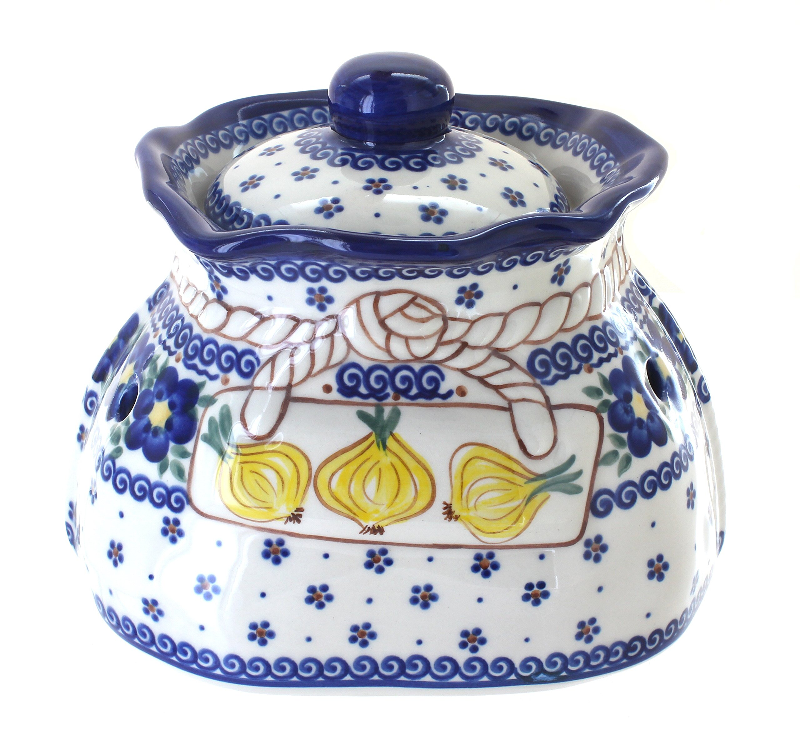 Blue Rose Polish Pottery Spring Blossom Large Garlic Keeper by Blue Rose Pottery