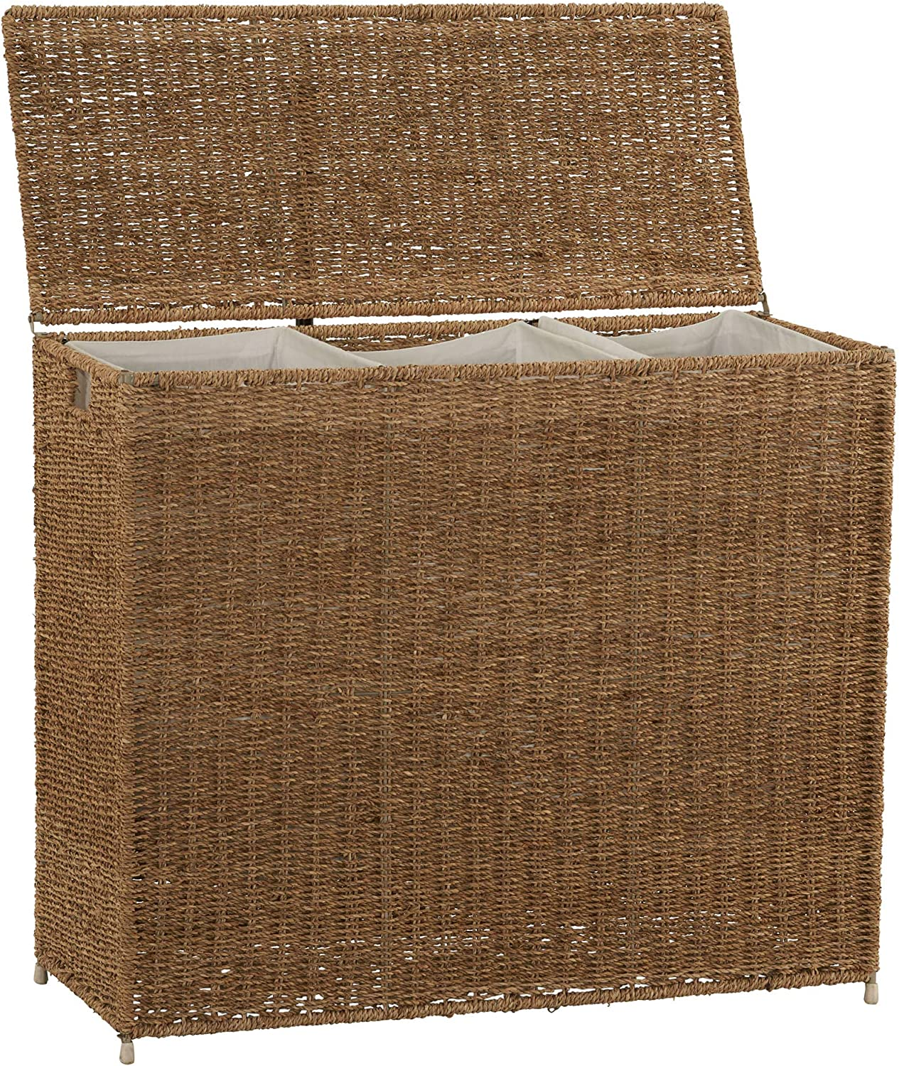 Household Essentials Brown ML-5445 Wicker 3 Compartment Laundry Sorter with Lid | 3 Section Clothes Hamper