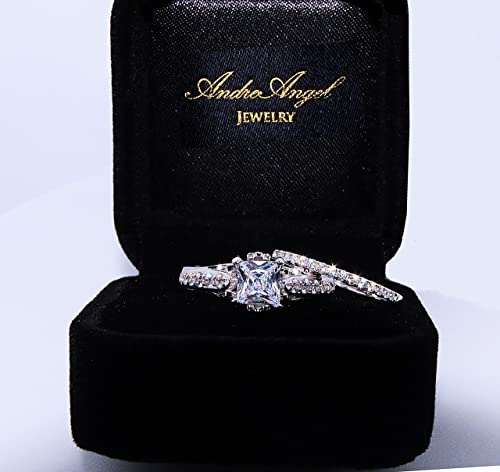 Amazon.com: AndreAngel Wedding Sets Rings Engagement Bridal Marriage Promise Proposal Women White Gold 18K Carat Cubic Zirconia Lab Diamond AAAAA Stone ...