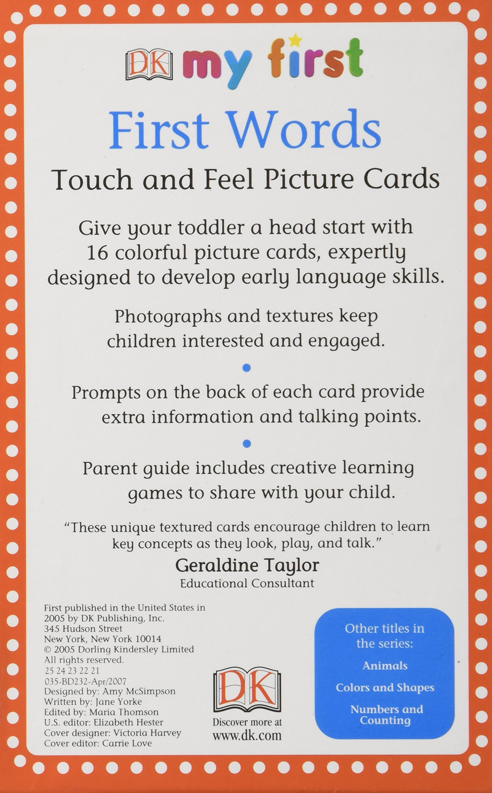my first touch feel picture cards first words my 1st t f