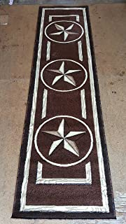Texas Star Runner Area Rug Dark Brown Design #M2 (2ft.x7ft.3in