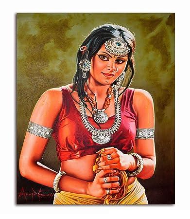 Tamatina Canvas Painting - Beautiful Indian Beauty - Erotic Art - Potrait : Amazon.in