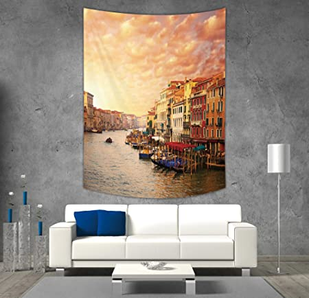 IPrint Polyester Tapestry Wall HangingScenery DecorVenezia Italian Decor Landscape With Old Houses