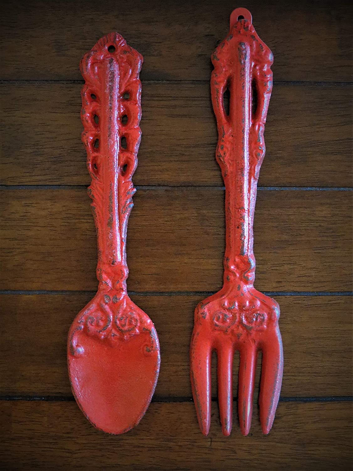Fork and Spoon Wall Decor, Apple Red Or Choose from Over 40 Colors, Rustic Farmhouse Kitchen Wall Décor, Painted to Order