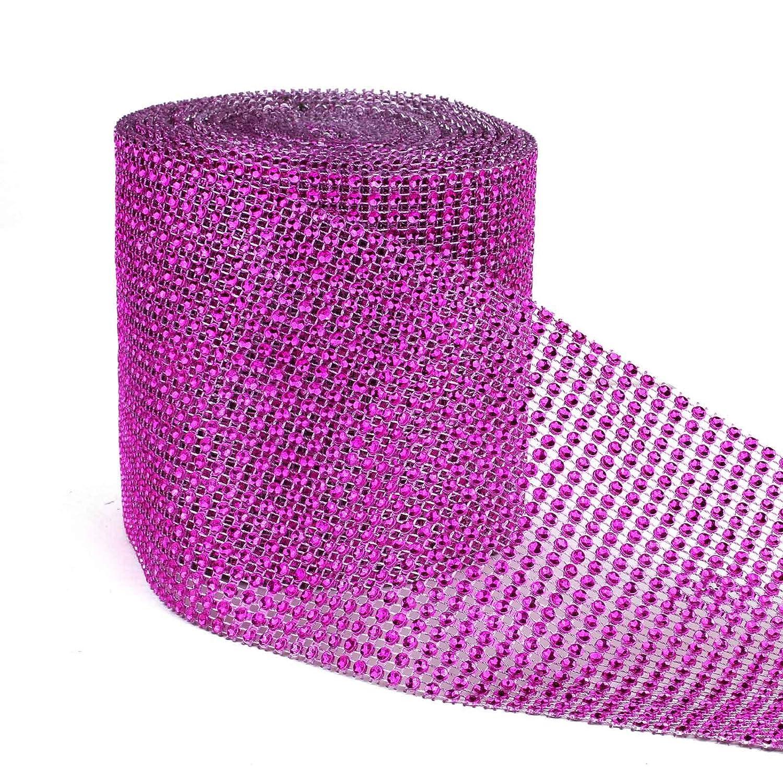 vLoveLife Mesh Ribbon 4.75 Gold Diamond Sparkle Rhinestone Ribbons Wrap Glitter Bling Diaper Cake Ribbon 24 Rows Wedding Party DIY Sewing Fabric Decor - 1yard
