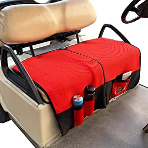 9.99WORLD MALL 10L0L Golf Cart Bench Seat Cover for EZGO TXT RXV & Club Car DS Precedent, Double-Sided Design Cool Breathable Mesh for Summer, Warm Blanket for Winter