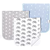 """Baby Burp Cloth Large Absorbent 3 Pack Gift Set Boys""""Cruise"""" by Copper Pearl"""
