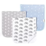 "Baby Burp Cloth Large 21''x10'' Size Premium Absorbent Triple Layer 3-Pack Gift Set ""Cruise"" by Copper Pearl"