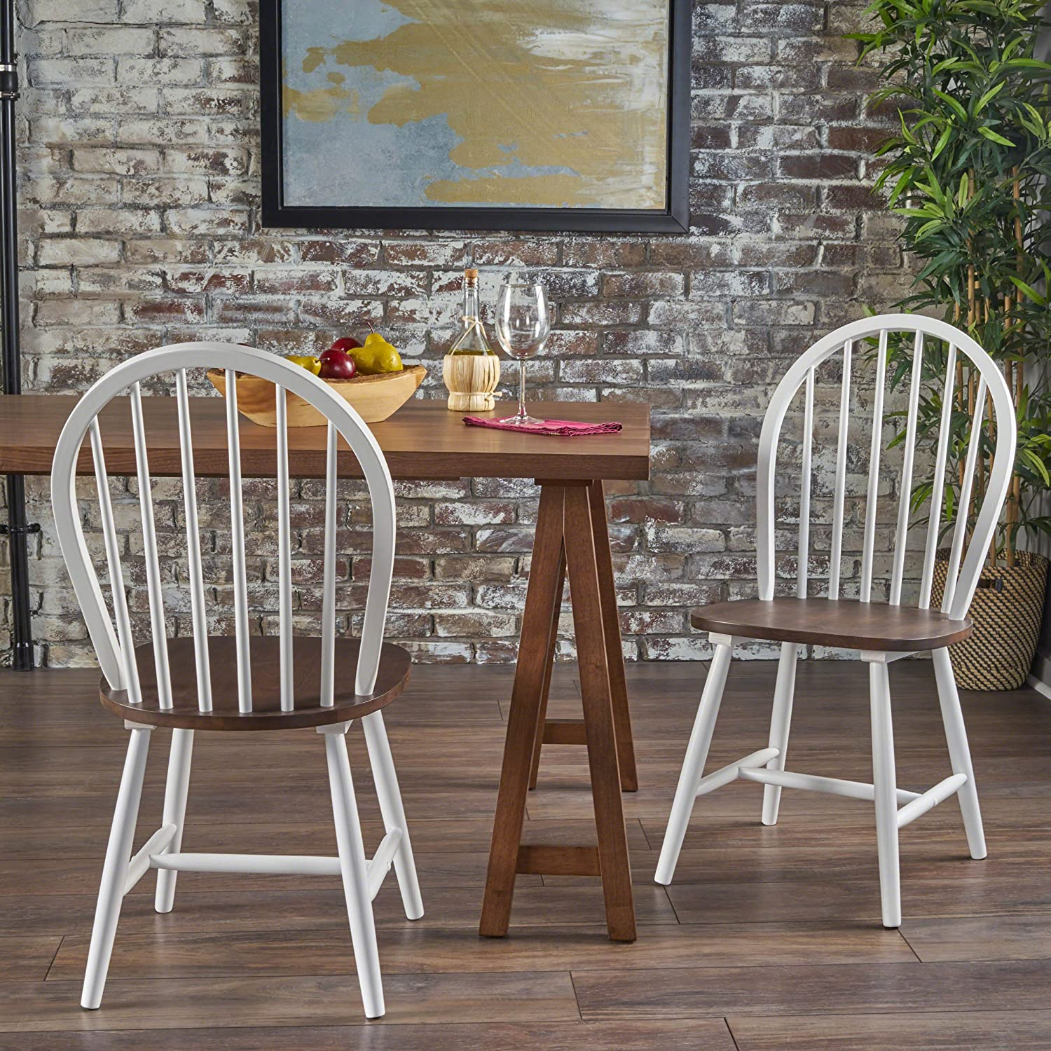 Amazon com crosby farmhouse cottage high back spindled white framed rubberwood dining chairs with brown seat set of 2 chairs