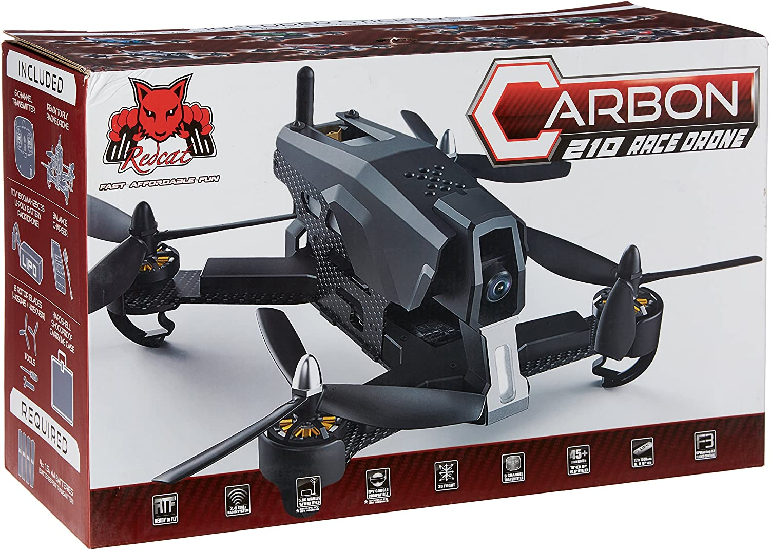 Redcat Racing Carbon 210 Race Brushless RTF RC Racing Drone w// HD Camera Black