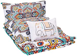 Chic Home 4 Piece Chagit Reversible Boho-Inspired Print and Contemporary Geometric Patterned Technique Queen Quilt Set Aqua