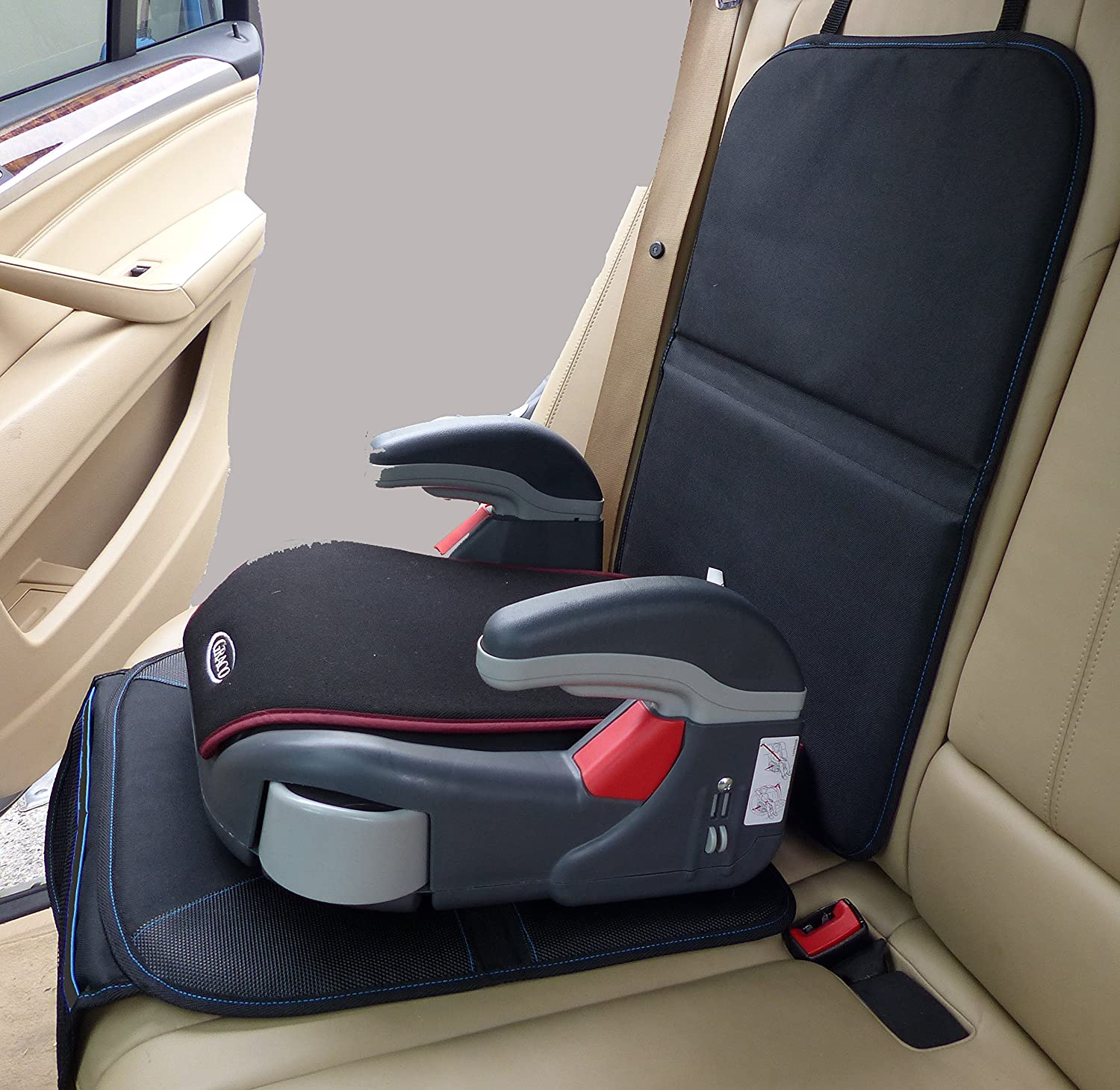 child car seat protector for leather velcromag. Black Bedroom Furniture Sets. Home Design Ideas