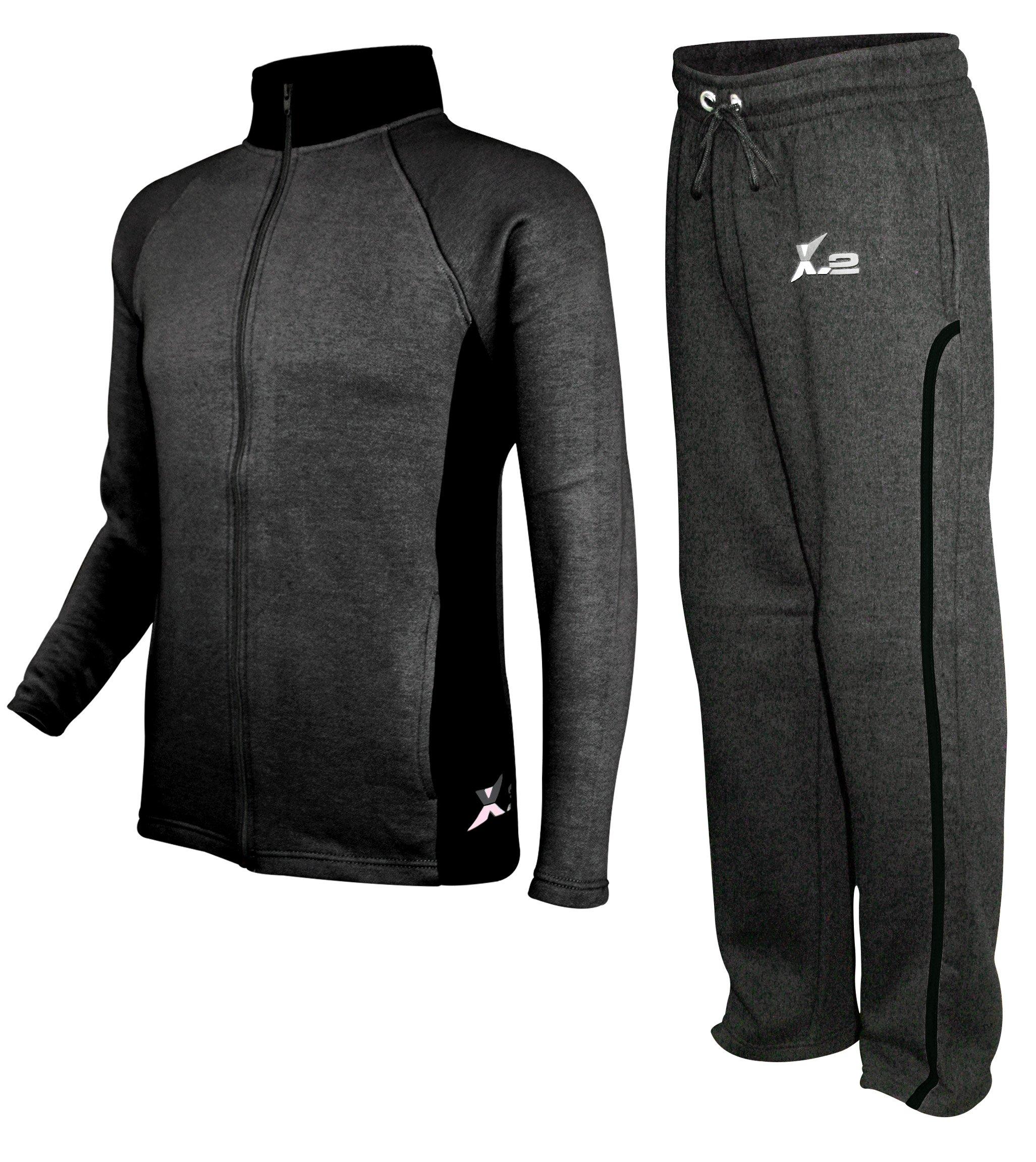 X-2 Mens Athletic Fleece Tracksuit Jogging Sweatsuit Activewear CharBlack XXXL