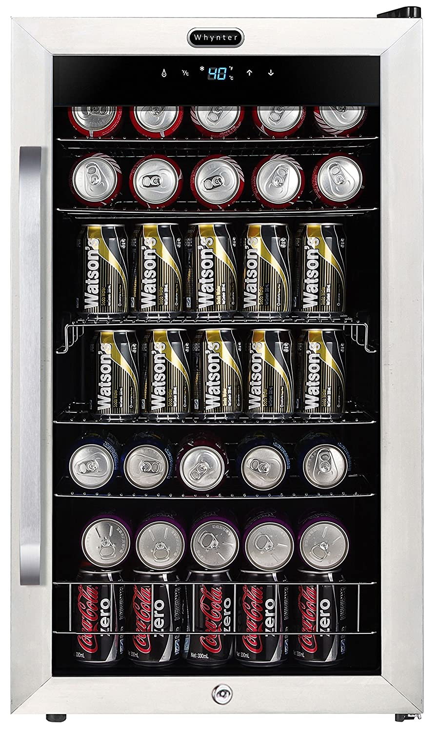 Whynter BR-1211DS Freestanding 121 Can Digital Control and Internal Fan, Stainless Steel Beverage Refrigerator One Size