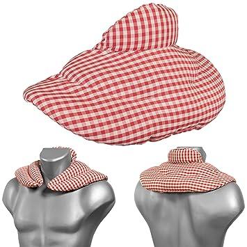Cojín cervical térmico con cuello (algodón biológico rojo-blanco ...
