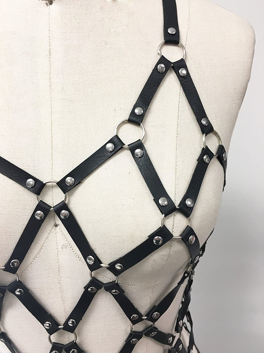 Leather woven black cage harness