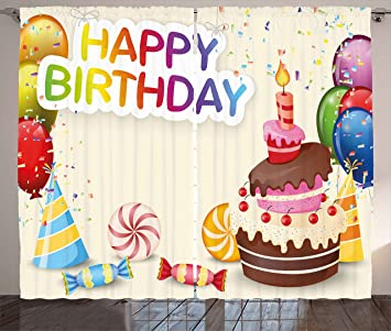 Amazoncom Ambesonne Birthday Decorations Curtains Cute