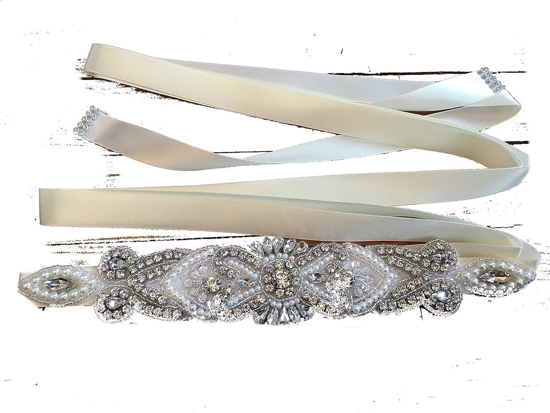 Brautgürtel, Strassgürtel, 270x2 cm, Satin, ivory, elfenbein ...