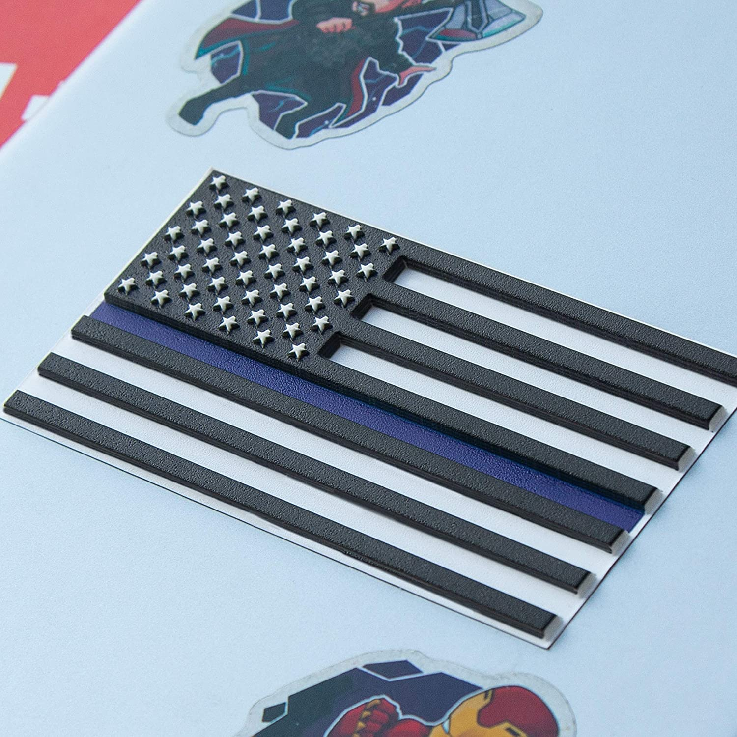 Thin Blue Line Flag Decal – 3D Premium Quality Thin Blue Line Stickers Car – 2 in Pack Support Police Flag Sticker 3,8 х 2 Inch Vinyl American Flag Decals Laptop Toolbox – Raised Stars Stripes