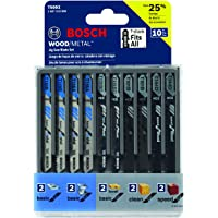 10-Piece Bosch Assorted T-Shank Jig Saw Blade Set