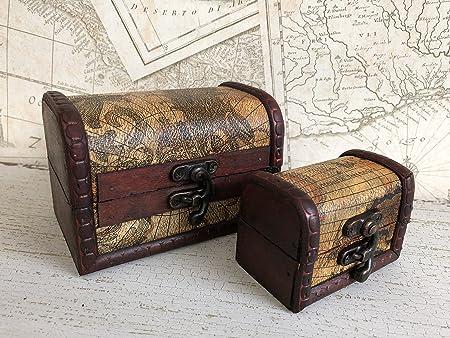 Juego de 2 Vintage Colonial cofre del tesoro pirata mapa Atlas diseño caja de almacenaje, metal, Set of 2 Small: Amazon.es: Hogar