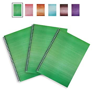 A4 Notebook - 3 Pack - SOFT COVER - LEXY NOTES - Modern Spiral Wirebound  Notepad - Apple Green
