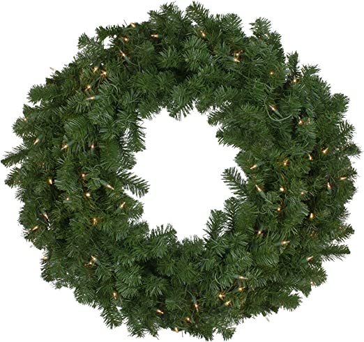 Northlight Pre Lit Deluxe Windsor Pine Artificial Christmas Wreath 36 Inch Clear Lights Home Kitchen
