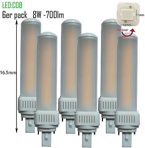 Pack de 6 LED G24d-1 pl c pin2 Bombilla PL de c 8 W