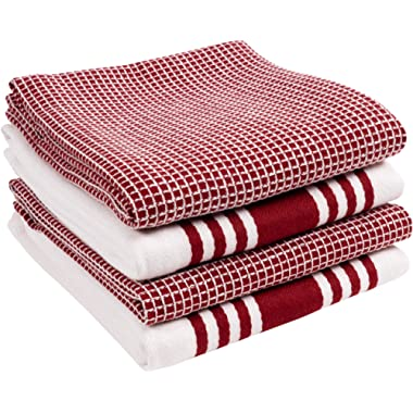 KAF Home KT-MADWF-OX-S4 Centerband and Waffle Flat Absorbent, Durable, Soft, and Beautiful Towels | Perfect for Kitchen Messes and Drying Dishes, 18 x 28 - Inches Wine
