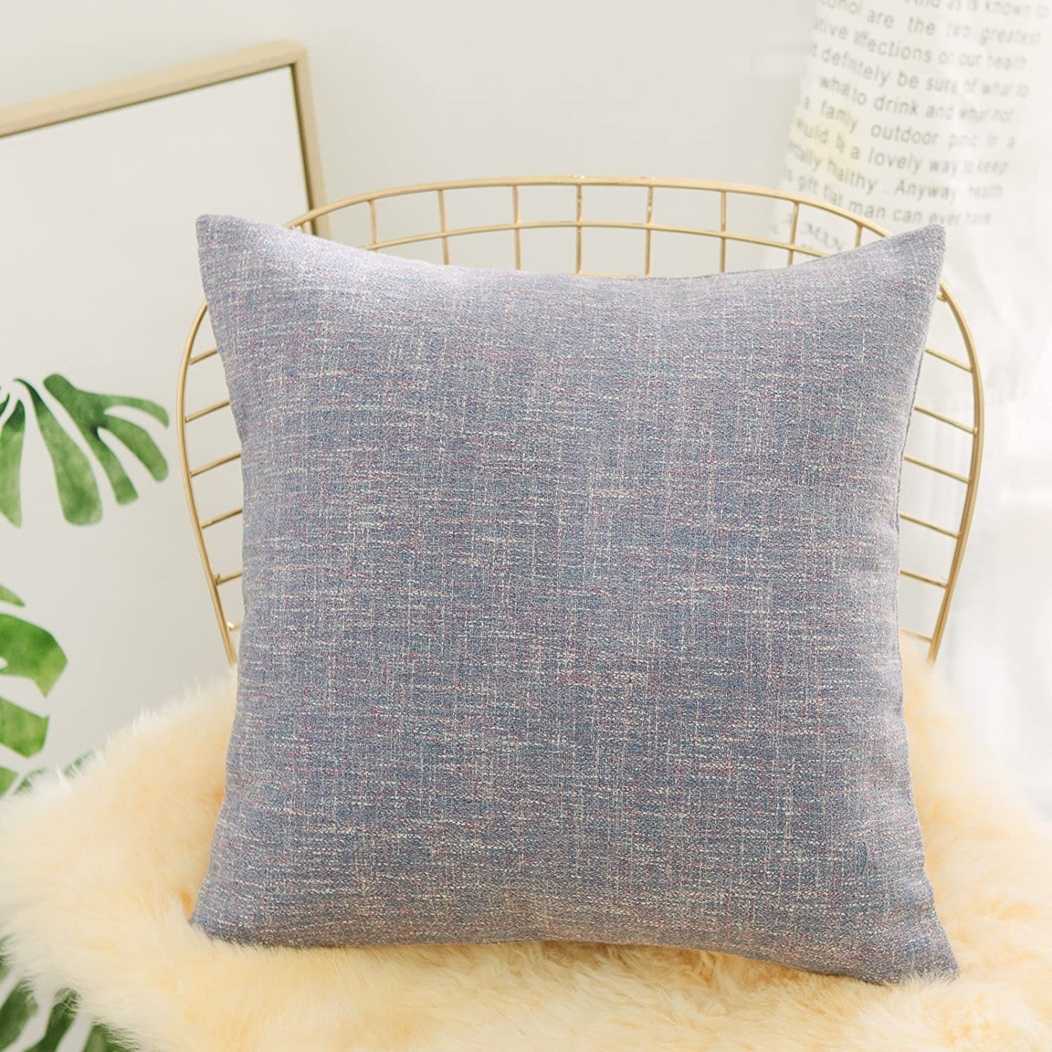 Home Brilliant Euro Sham Linen Textured Striped Pillowcase Large Throw Pillow Cover for Floor, 26x26 inch(66x66cm), Lavender Lilac