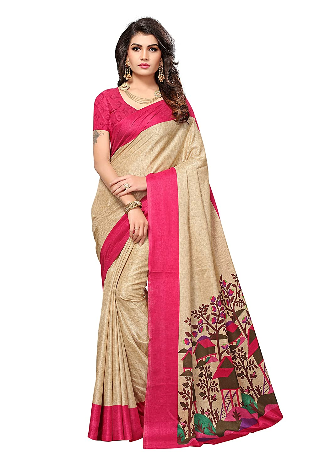 Shonaya Womens Pink & Beige Colour Manipuri Silk Printed Saree RTMNP-1010