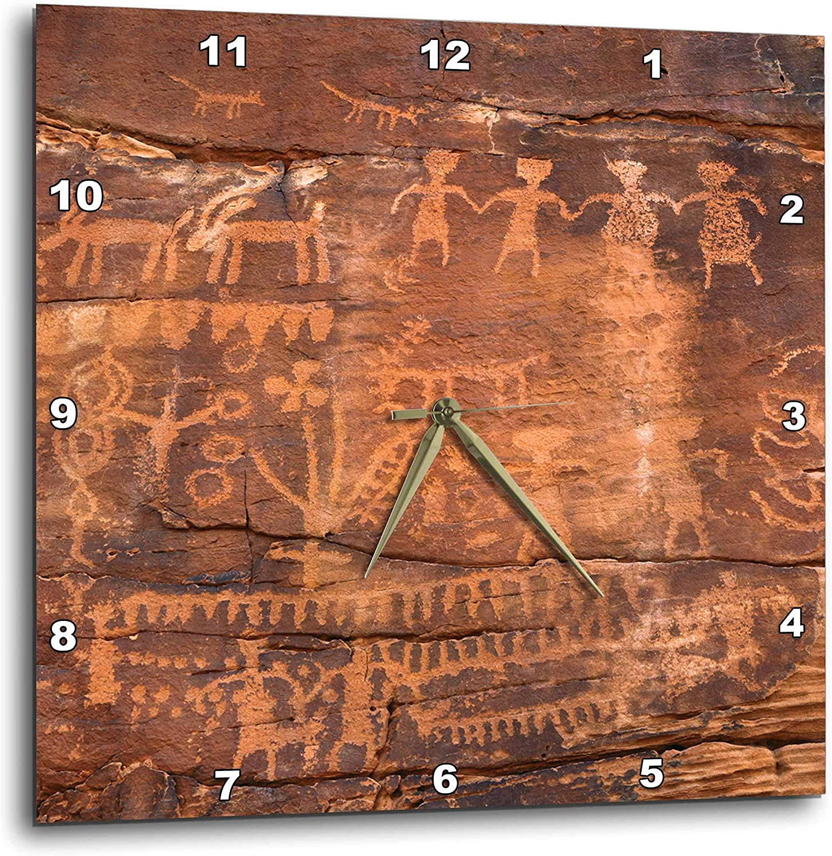 "3D Rose USA - Southwest - Indian Petroglyphs on Sandstone Wall Clock, 10"" x 10"""